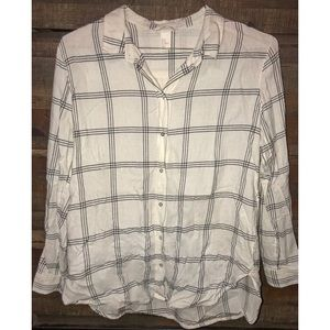 H&M Size 12 White & Black Soft Plaid Flannel